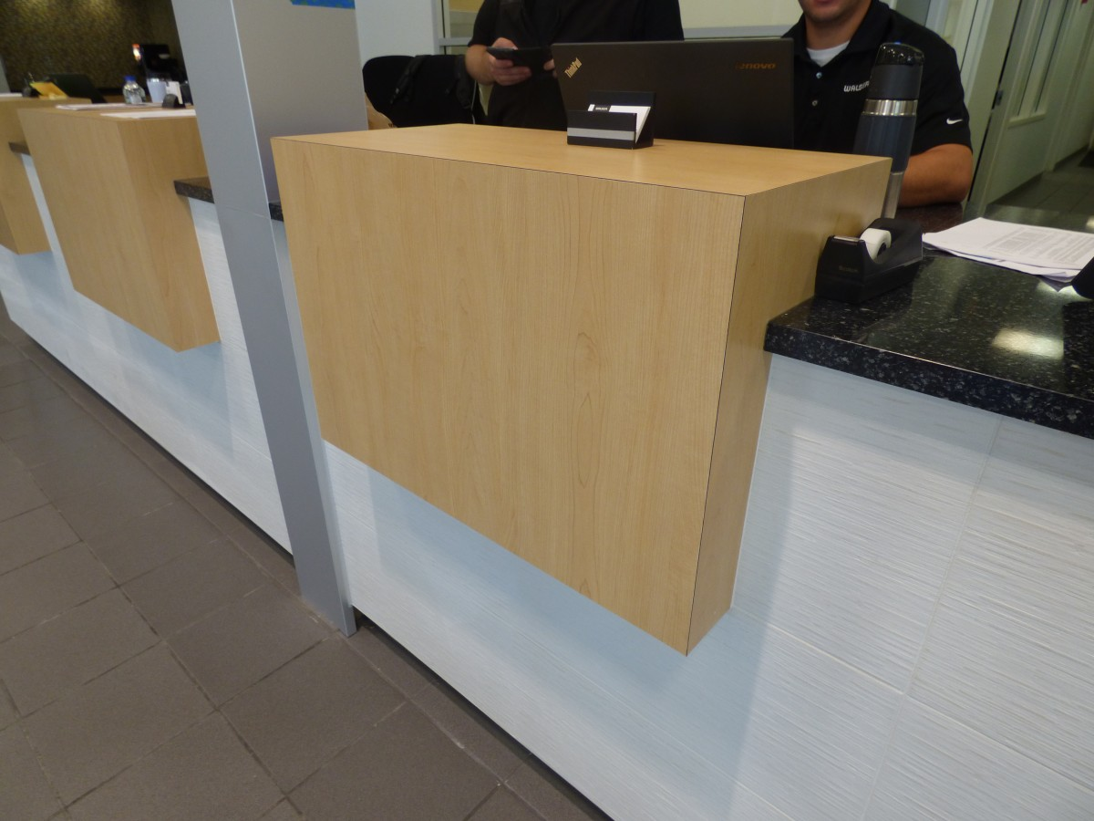 Service Writer Desk ~ Custom automotive cabinetry creative surfaces sioux falls