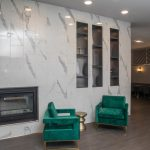 Marble Tile Fireplace Wall