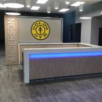 Custom Reception Desk for Gold's Gym