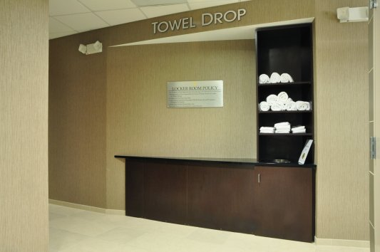 Dropped Her Towel http://www.creativesurfaces.com/caseworkmillwork/fitness-centers/golds-gym-epicenter-charlotte-nc/
