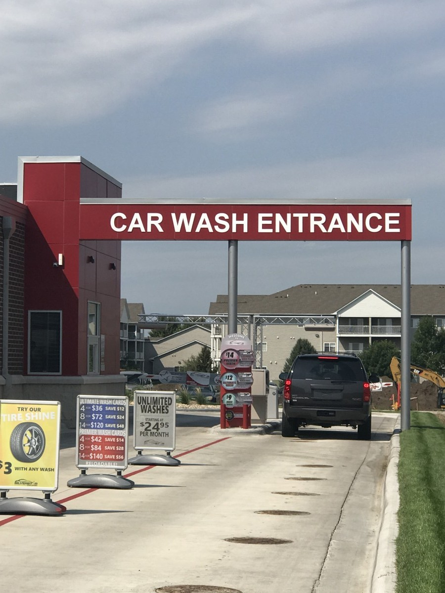 Car Wash Canopy Sign & Exterior Car Wash Signage - Creative Surfaces Inc.
