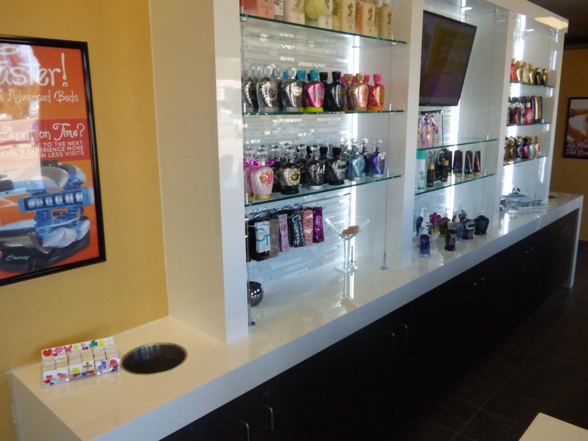 custom tanning salon cabinetry – Tanning Salon Reception Desk