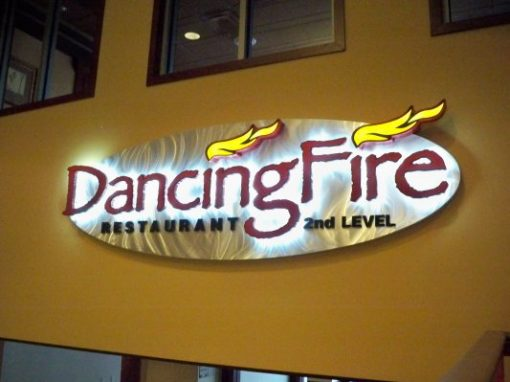 Northern Lights Dancing Fire Restaurant sign